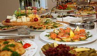 some appetizing food at banquet table